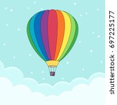 hot air balloon in the sky with ... | Shutterstock .eps vector #697225177