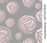 Gold Abstract Roses On Grey....