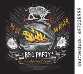 bbq vector logo design template.... | Shutterstock .eps vector #697228999