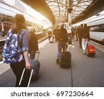 passengers walking down a... | Shutterstock . vector #697230664