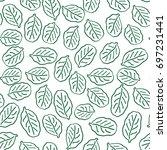 green leaves seamless background | Shutterstock .eps vector #697231441