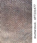 metal grid. small. curved. | Shutterstock . vector #697231477