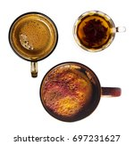 cups with drinks top view... | Shutterstock . vector #697231627