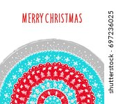 christmas and new year greeting ... | Shutterstock .eps vector #697236025