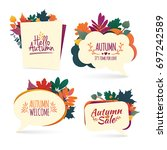 set autumn bubbles. design... | Shutterstock .eps vector #697242589