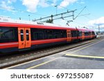nsb train   kongsvinger  norway ... | Shutterstock . vector #697255087