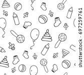 vector seamless pattern of baby ... | Shutterstock .eps vector #697259761