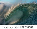 empty big perfect blue surfing... | Shutterstock . vector #697260889