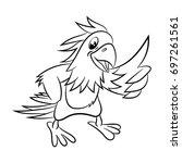 parrot. coloring book design... | Shutterstock .eps vector #697261561