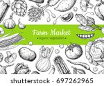 vegetable hand drawn vintage... | Shutterstock . vector #697262965