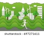 jogging sport people  athletic... | Shutterstock .eps vector #697271611