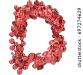 letter d made of bubbly red... | Shutterstock . vector #697274629