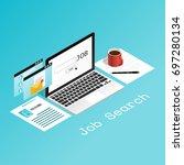 isometric laptop pop up job... | Shutterstock .eps vector #697280134