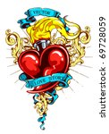 burning heart with ribbon and... | Shutterstock .eps vector #69728059