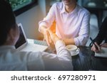 business team working on... | Shutterstock . vector #697280971