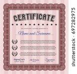 red diploma. retro design.... | Shutterstock .eps vector #697282975