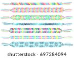 friendship bracelets set.... | Shutterstock .eps vector #697284094