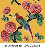 paradise bird  branch  green... | Shutterstock .eps vector #697285195