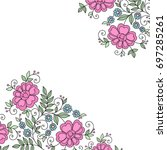 colorful flower design frame.... | Shutterstock .eps vector #697285261