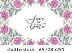 colorful flower design frame.... | Shutterstock .eps vector #697285291