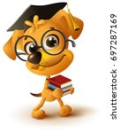 yellow dog teacher holds stack... | Shutterstock .eps vector #697287169