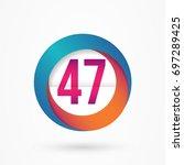stylized number 47 design... | Shutterstock .eps vector #697289425