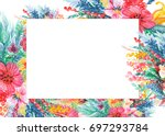 frame of invitation cards with... | Shutterstock . vector #697293784