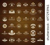 oktoberfest celebration beer... | Shutterstock .eps vector #697293961