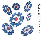 casino chips with flag of south ... | Shutterstock . vector #697295074