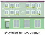 urban multi storey house with... | Shutterstock .eps vector #697295824