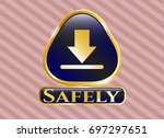 gold badge or emblem with...   Shutterstock .eps vector #697297651
