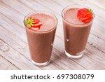 milkshake with chocolate and... | Shutterstock . vector #697308079