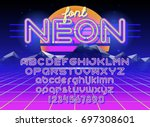 neon light alphabet vector font.... | Shutterstock .eps vector #697308601