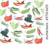 hand drawn chili peppers.... | Shutterstock .eps vector #697311655