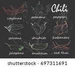 hand drawn chili peppers.... | Shutterstock .eps vector #697311691