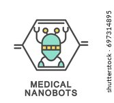 icon medical nanobots. nanobots ... | Shutterstock .eps vector #697314895