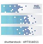 blue pixel background in...