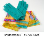 leather gloves and silk scarf | Shutterstock . vector #697317325