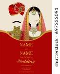 wedding invitation card... | Shutterstock .eps vector #697323091