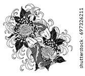 koi fish and chrysanthemum... | Shutterstock .eps vector #697326211