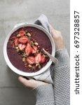 healthy breakfast acai bowl | Shutterstock . vector #697328857