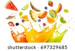 mixed fruit falling in colorful ... | Shutterstock . vector #697329685
