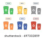 garbage cans vector flat... | Shutterstock .eps vector #697332859