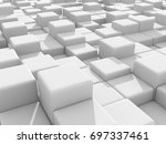 abstract white cubes wall... | Shutterstock . vector #697337461