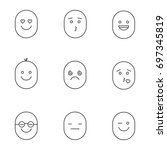 smiles linear icons set.... | Shutterstock .eps vector #697345819