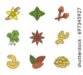 spices color icons set.... | Shutterstock .eps vector #697345927