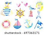 watercolor collection of sea... | Shutterstock . vector #697363171