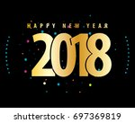 new year 2018 abstract lettering | Shutterstock .eps vector #697369819