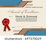 award of excellence with wax... | Shutterstock .eps vector #697370029