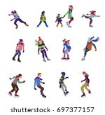 characters set of happy figure... | Shutterstock .eps vector #697377157